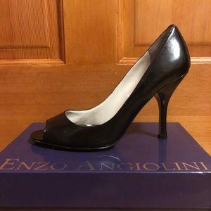 Black leather peep toe heels